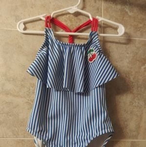Cat and Jack 4/5 cherry stripe one piece swimsuit